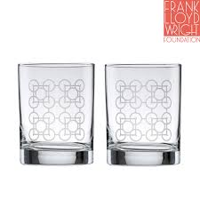 frank lloyd wright luxfer deep etched dof double old fashioned glass 1