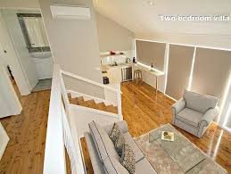 our villas are split level in design with cypress pine floors