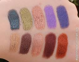 my eyeshadow consultant makeup geek foiled eyeshadow swatches top row l to
