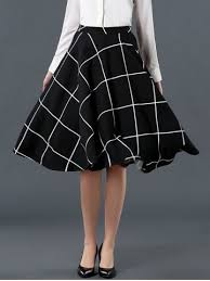 high waisted skirt black l high waist plaid pattern flare skirt rosegal