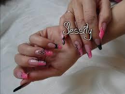 photo ongles gel ongle en gel forme amande rose et noir paillette youtube