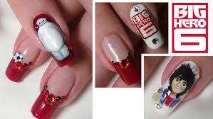 disney inspired big hero 6 nail art tutorial hiro u0026 baymax