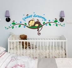 Nursery Monkey Wall Decals Baby Monkey Wall Stickers Tree Wall Decals For