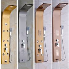 aliexpress com buy multi style wall hanger bath shower panel aliexpress com buy multi style wall hanger bath shower panel single handle body massage jets shower faucet column with hand shower from reliable shower