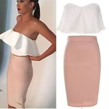 pencil skirts women shoulder ruffle white crop tops bodycon pencil