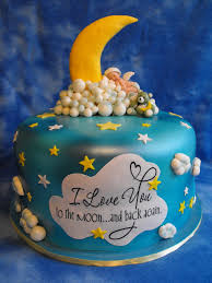 love you to the moon and back baby shower cake all for love
