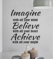 vinyl wall lettering imagine believe achieve inspirational sports