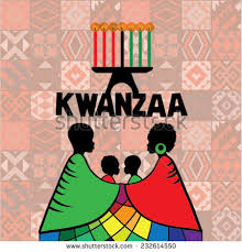 Kwanzaa Decorations Greeting Card Kwanzaa Silhouette Couple Africans Stock Vector