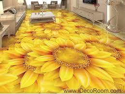 3d Wallpaper Home Decor by Gold Sunflowers Field 00044 Floor Decals 3d Wallpaper Wall Mural