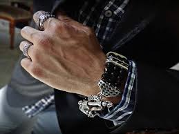 rock star rings images Triple diamond stud 925 sterling silver rockstar bracelet for men jpg