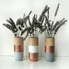 Home Decor Channel Set Of 3 Painted Wooden Vases Home Decor Bronzethe Block Shop