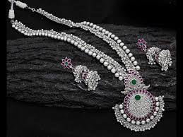silver necklace sets images Silver necklace with earring set design collections jpg