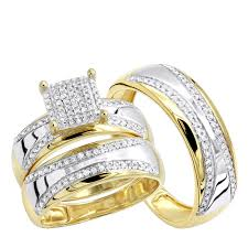 gold wedding ring sets two tone 10k gold wedding band and engagement ring set