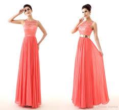 lace coral prom dresses gold belt keyhole back image cheap