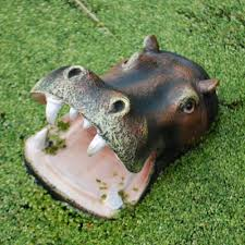 buy floating open jaw hippo pond feature garden ornament from