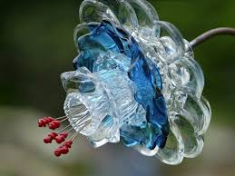 175 best glass flowers images on garden totems glass