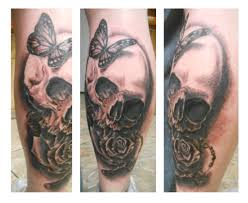 skull rose butterfly rosary greyscale tattoo by goldfish bloop on