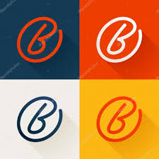 b letter in circle line logo set u2014 stock vector kaer dstock