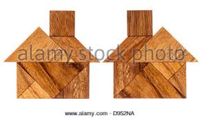 seven tangram wooden pieces a traditional puzzle