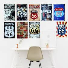 home decor wall signs route us 66 metal tin signs american old route 66 signage home