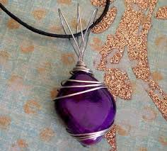 purple stone necklace images Wire wrapped purple stone necklace by sercive jpg