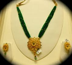beaded pendant necklace designs images Green beads chain with gold pendant set latest gold jewellery jpg