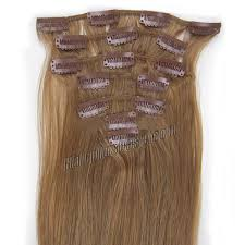 8 Inch Human Hair Extensions by 24 Inch 12 Golden Brown Clip In Human Hair Extensions 8pcs