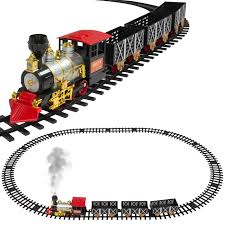 classic train set for kids with real smoke music and lights