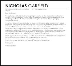resignation letter example of letter of resignation from a church