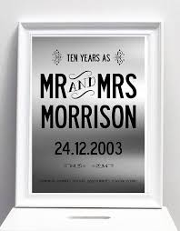 10th year wedding anniversary ten year wedding anniversary personalised by i design