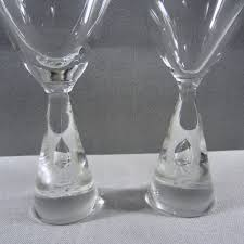 holmegaard princess modern suspended bubble stem 2 white wine glasses