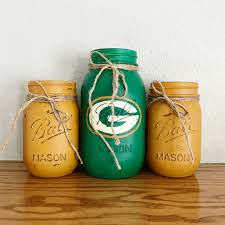 green bay packers mason jar set rustic home decor true north