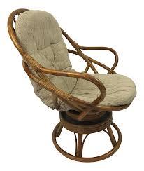vintage rattan swivel rocker lounge chair chairish