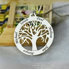 personalized family tree necklace personalized family tree necklace engraved circle name necklace