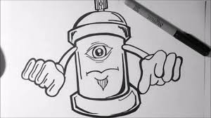how to draw graffiti character one eye spray can youtube
