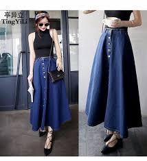 denim skirts tingyili button front denim skirt saias a line casual