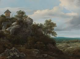 Landscape With Houses by File Jacob Van Ruisdael Landscape With Houses On A Rocky Hill