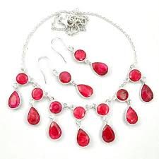 earring necklace ruby images 925 sterling silver natural red ruby earrings necklace set m46879 JPG