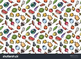 hand drawn cartoon seamless pattern food stock vector 627678521