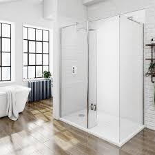 B Q Bathrooms Showers Artistic Mode Luxury 8mm Walk In Enclosure Pack With Tray 1600 X