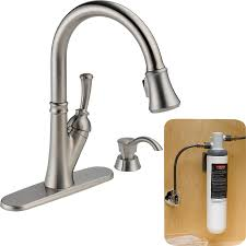delta savile stainless 1 handle pull kitchen faucet shop delta savile with filtration stainless 1 handle pull