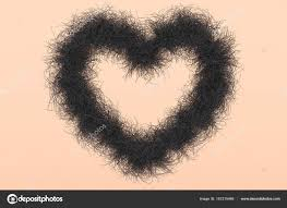 pubic hair shaved to look like a heart heart shape with black hair as symbol against the female shave
