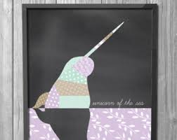 narwhal wall etsy