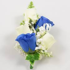 royal blue corsage royal blue ivory wrist corsage