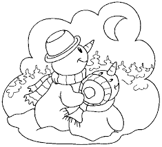 snowman coloring pages print moon winter