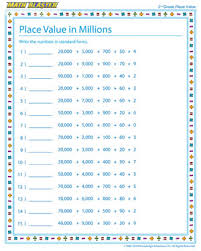 place value in millions u2013 worksheet on place value u2013 math blaster