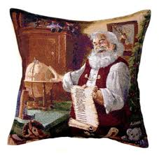 faux leather throw pillows amazon com santa claus checking list tapestry toss pillow usa