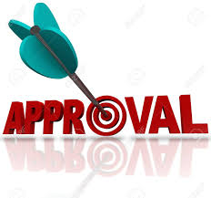 Seeking Bullseye An Arrow Hitting A Bullseye Target In The Word Approval To