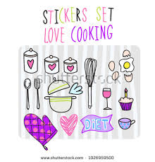 hearts and kitchen collection vector set collection design lettering concept stock vector