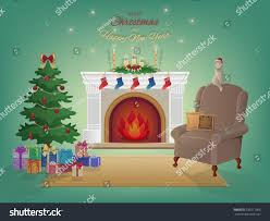 merry christmas home interior fireplace christmas stock vector